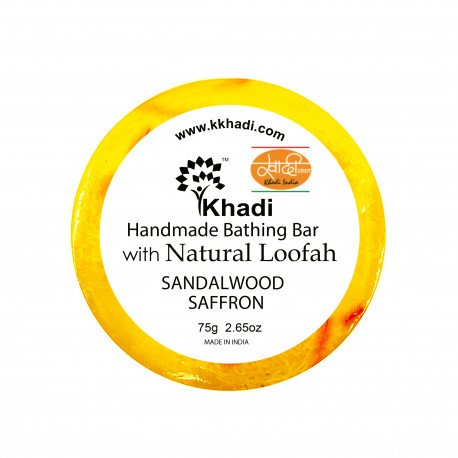 Мыло с мочалкой Sandalwood Saffron Bathing Bar Soap Khadi (Сандал Шафран Кхади) 75гр